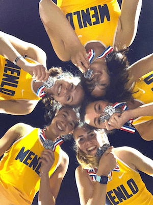 Alexandra Chan, Lauren Hamilton, Michelle Louie,Kyra Pretre, Charlotte Tomkinson of Menlo School-Atherton -- Track Grab SportStars of the Week Title