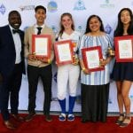 Pac-12 Conference executive, Will Hunter honored the following OAL Most Valuable Players (left to right) - Anthony Calderon, LPS Hayward Boy's Soccer -Jamie Burgasser, Oakland Tech Softball -Melesungu 'Ofa, Skyline,Girl's Volleyball -Andrea Zak-Lee, Oakland Tech Lacrosse