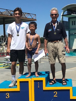Team Sherman Swim Divers, Daniel Zabronsky (17), Timmy Ho (7), and Bob Sherman (91 — one of the oldest divers still competing in the country!)