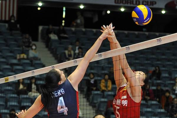 THE JOUST shown by olympic volleyball setter, Lindsey Berg; the one- or two-handed joust. The main key here is to jump later than your opponent and touch the ball second. This gives you leverage to push the ball to the other side of the net. If you can push last, the ball will likely end up on your opponent's side rather than your side.